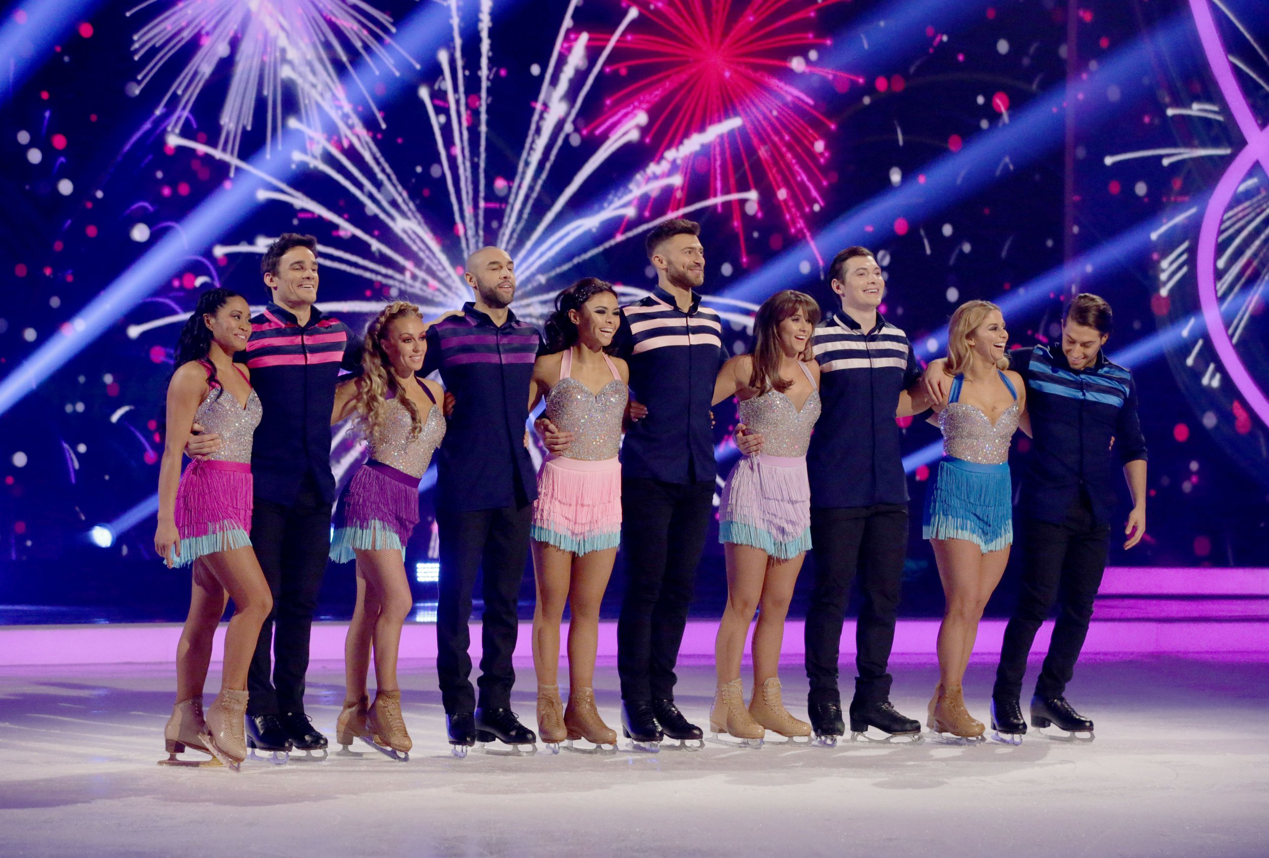 Editorial use only Mandatory Credit: Photo by Matt Frost/ITV/REX/Shutterstock (9436612hy) Max Evans and Brandee Malto, Alex Beresford and Brianne Delcourt, Jake Quickenden and Vanessa Bauer, Brooke Vincent and Matej Silecky, Kem Cetinay and Alex Murphy, Relay Skate 'Dancing on Ice' TV show, Series 10, Episode 8, Hertfordshire, UK - 25 Feb 2018
