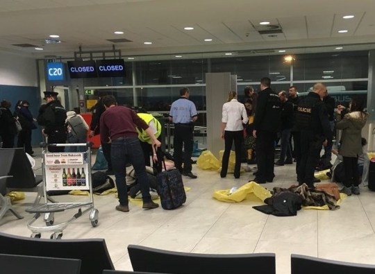 Passengers were held at Prague Airport due to a bomb threat on a flight from Manchester. Police swooped on the Jet2 plane following a ?potential bomb threat? yesterday evening [December 16], airport officials have confirmed. Caption: Passengers on a Jet2 flight from Manchester were held at Prague Airport on December 16, 2018, after a bomb threat