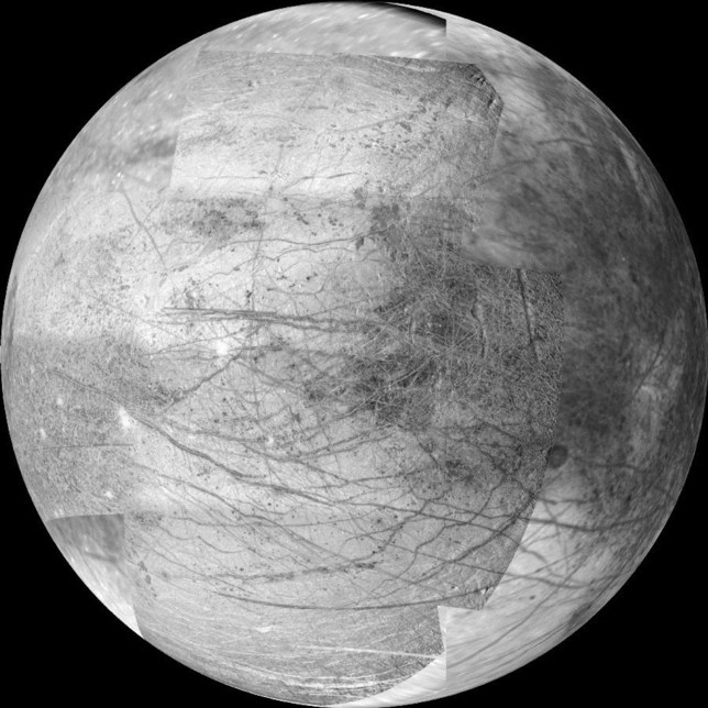 May 26, 2015 - Space - This 12-frame mosaic provides the highest resolution view ever obtained of the side of Jupiter's moon Europa that faces the giant planet. It was obtained on Nov. 25, 1999 by the camera onboard the Galileo spacecraft, a past NASA mission to Jupiter and its moons which ended in 2003. NASA will announce today, Tuesday, May 26, the selection of science instruments for a mission to Europa, to investigate whether it could harbor conditions suitable for life. The Europa mission would conduct repeated close flybys of the small moon during a three-year period.