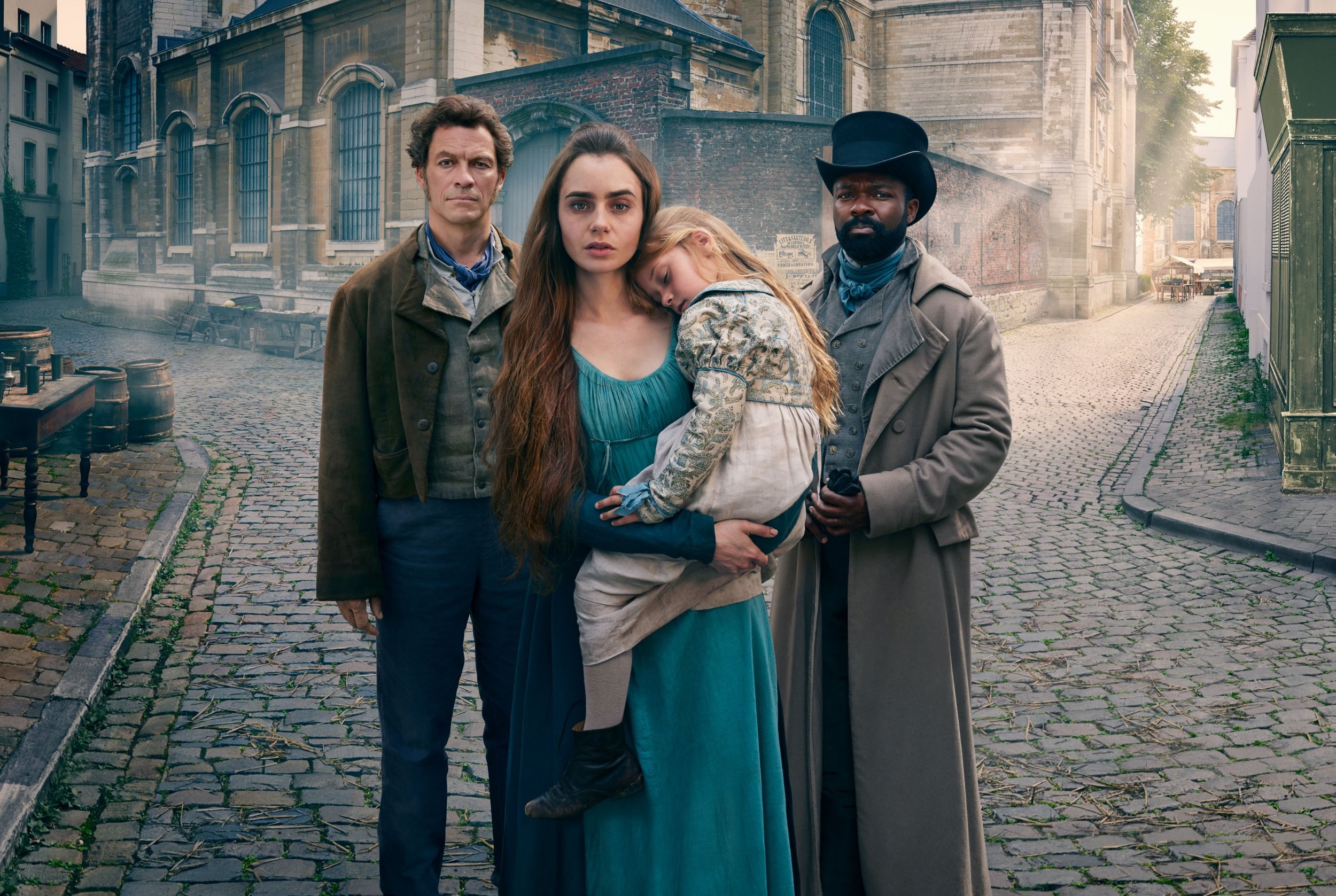 WARNING: Embargoed for publication until 00:00:01 on 11/12/2018 - Programme Name: Les Miserables - TX: n/a - Episode: Les Miserables - Generic Portraits (No. 1) - Picture Shows: **EMBARGOED FOR PUBLICATION UNTIL 00:01 HRS ON TUESDAY 11TH DECEMBER 2018** Jean Valjean (DOMINIC WEST), Fantine (LILY COLLINS), Javert (DAVID OYELOWO) - (C) BBC/Lookout Point - Photographer: Mitch Jenkins