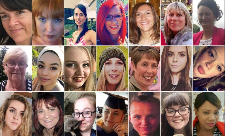 Embargoed to 0001 Tuesday December 18 Composite image of undated handout photos of 65 of the 139 women killed by men in 2017 (FIRST ROW, left to right) Alison Howe, Alyson Watt, Amy Barnes, Andreea Cristea, Aysha Frade, Angelika Klis, Anita Downey; (SECOND ROW, left to right) Anne Searle, Celine Dookhran, Chloe Rutherford, Christine Archibald, Concepta Leonard, Courtney Boyle, Demi Pearson; (THIRD ROW, left to right) Eilidh MacLeod, Elaine McIver, Ellen Higginbottom, Florina Pastina, Gemma Leeming, Georgina Callander, Gillian (Nyasha) Zvomuya (Kahari); (FOURTH ROW, left to right) Hannah Dorans, Jane Hings, Jane Tweddle, Janice Griffiths, Jessica King, Jillian Howell, Joanne Rand; (FIFTH ROW, left to right) Jodie Willsher, Julie Parkin, Justene Reece, Kanwal/Bernice Williams, Katrina Evemy, Kelly Brewster, Kerri McAuley; (SIXTH ROW, left to right) Kiran Daudia, Kirsty Boden, Kirsty (aka Kirby) Noden, Lea Adri-Soejoko, Leanne Collopy, Leanne McKie, Leonne Weeks; (SEVENTH ROW, left to right) Lisa Chadderton, Lisa Lees, Marie Brown, Marjorie Cawdery, Megan Bills, Megan Hurley, Michelle Kiss; (EIGHTH ROW, left to right) Moira Gilbertson, Molly McLaren, Nell Jones, Nicola Campbell, Olivia Campbell-Hardy, Patricia McIntosh, Quyen Ngoc Nguyen; (NINTH ROW, left to right) Sabrina Mullings, Sara Zelenak, Sheila Morgan, Sinead Wooding, Sorrell Leczkowski, Teresa Wishart, Tracey Wilkinson; (TENTH ROW, left to right) Vicki Hull, Wendy Fawell. PRESS ASSOCIATION Photo. Issue date: Monday December 17, 2018. See PA story POLICE Femicide List. Photo credit should read: Composite by Clive Gee/PA Wire NOTE TO EDITORS: This handout photo may only be used in for editorial reporting purposes for the contemporaneous illustration of events, things or the people in the image or facts mentioned in the caption. Reuse of the picture may require further permission from the copyright holder.
