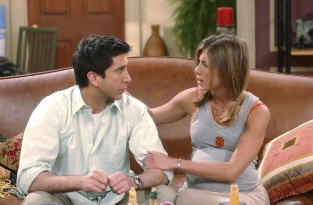 "FRIENDS -- ""The One Where Rachel Is Late"" -- Episode 22 -- Aired 5/9/2002 -- Pictured (l-r): David Schwimmer as Ross Geller, Jennifer Aniston as Rachel Green -- Photo by: NBCU Photo Bank"