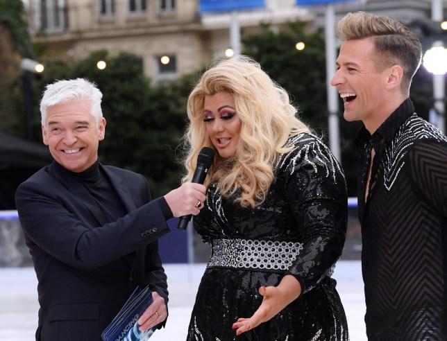 Mandatory Credit: Photo by David Fisher/REX (10037097au) Phillip Schofield, Gemma Collins and Matt Evers 'Dancing On Ice' TV show photocall, London, UK - 18 Dec 2018