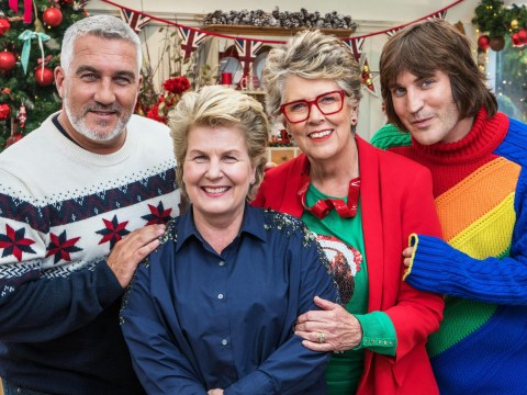 Noel Fielding wraps up in festive rainbow jumper for Bake Off special as he celebrates first Christmas as a dad
