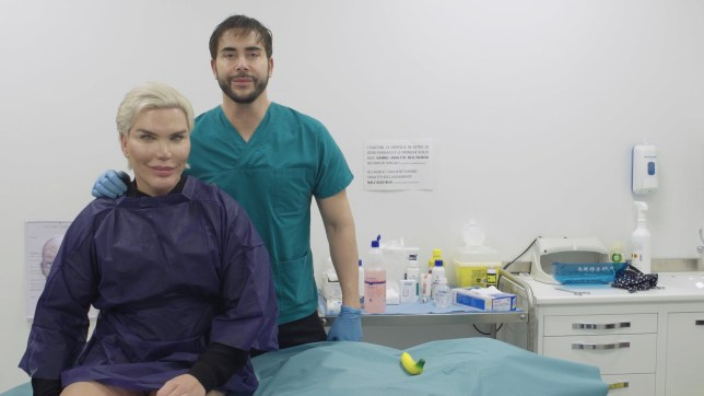 *** EXCLUSIVE - VIDEO AVAILABLE *** MILAN, ITALY - DECEMBER 10: Rodrigo Alves with Dr Giancomo Urtis awaiting injectables at Dr Urtis Clinic on December 10, 2018 in Milan, Italy. HUMAN Ken doll Rodrigo Alves celebrates Christmas in Milan, by buying pairs of designer shoes for his friends and taking singing lessons for his budding singing career. Primarily known for his love of plastic surgery, Rodrigo Alves says he will spend 2019 focusing on launching a singing career - and has even set his sights on entering the Eurovision contest. Also known as the human Ken doll, Rodrigo has started signing lessons with vocal coach Laura Pesenti in Milan, Italy. During his time in the Italian style capital Rodrigo has also been getting into the festive spirit with some shoe shopping, making pizza for his friends - and of course finding time for a little cosmetic procedure: this time a Brazilian butt lift. PHOTOGRAPH BY Matteo Terzaghi / Barcroft Images