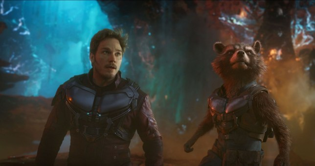 "Editorial use only. No book cover usage. Mandatory Credit: Photo by Marvel Studios/Kobal/REX/Shutterstock (9224659v) Chris Pratt, Rocket (Bradley Cooper) ""Guardians of the Galaxy Vol. 2"" Film - 2017"