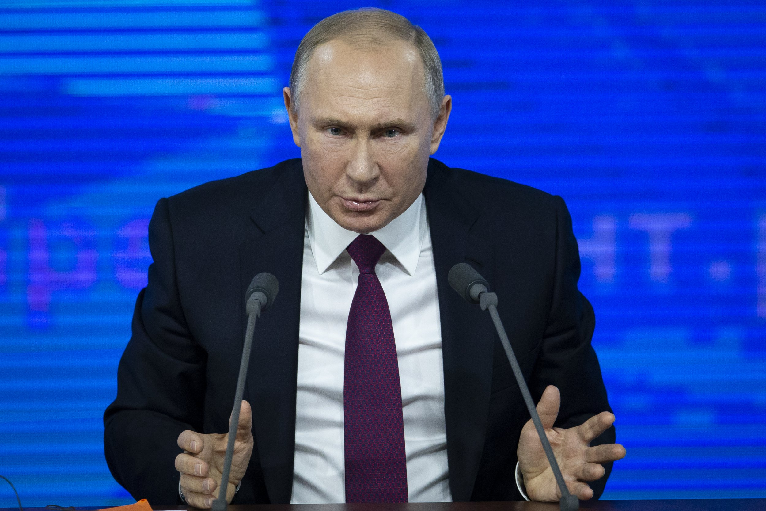 "Russian President Vladimir Putin gestures during his annual news conference in Moscow, Russia, Thursday, Dec. 20, 2018. Putin issued a chilling warning Thursday about the rising threat of a nuclear war, saying ""it could lead to the destruction of civilization as a whole and maybe even our planet"" ??? and putting the blame squarely on the U.S. (AP Photo/Alexander Zemlianichenko)"