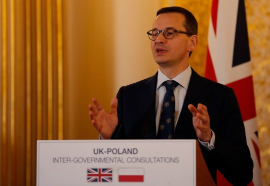 Polish Prime Minister Mateusz Morawiecki during a press conference following the UK-Poland Inter-Governmental Consultations at Lancaster House, London. PRESS ASSOCIATION Photo. Picture date: Thursday December 20, 2018. See PA story POLITICS Poland. Photo credit should read: Alastair Grant/PA Wire