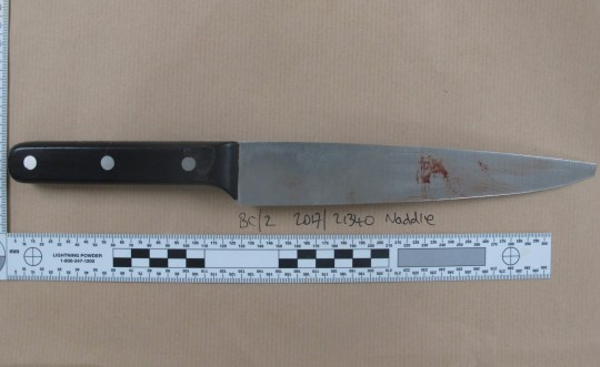 Undated handout photo issued by the Metropolitan Police of the knife used by Erick Ekam, 19, of Falkland Road, London, in the fatal stabbing of Mohamed Aadam Mohamed, 20, in Hampstead Road, Camden on September 4 2017. Ekam was found guilty on Wednesday, 19 December, at the Old Bailey of murder. PRESS ASSOCIATION Photo. Issue date: Friday December 21, 2018. See PA story COURTS Knife. Photo credit should read: Metropolitan Police/PA Wire NOTE TO EDITORS: This handout photo may only be used in for editorial reporting purposes for the contemporaneous illustration of events, things or the people in the image or facts mentioned in the caption. Reuse of the picture may require further permission from the copyright holder.
