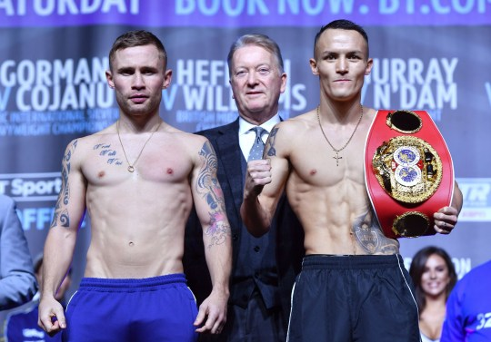 Carl Frampton (left) and Josh Warrington during the weigh in at Manchester Central. PRESS ASSOCIATION Photo. Picture date: Friday December 21, 2018. See PA story BOXING Manchester. Photo credit should read: Anthony Devlin/PA Wire