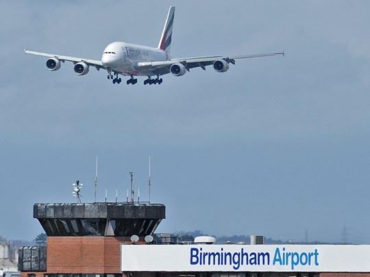 Emirates Airbus A380 prepares to land at Birmingham Airport, as Emirates will be introducing the very first Airbus A380 service into Birmingham International Airport, which will operate daily between Dubai and the West Midlands from Sunday March 27.