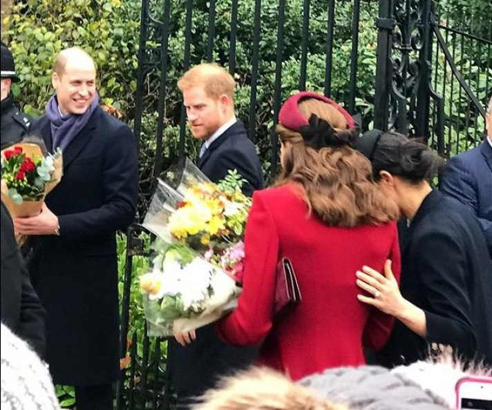 METRO GRAB - taken from the Instagram of at.home.with.harriet with permission Best of friends? Meghan puts hand on Kate's back as they put on show of unity in Sandringham https://www.instagram.com/p/Br0Bschl54D/ at.home.with.harriet
