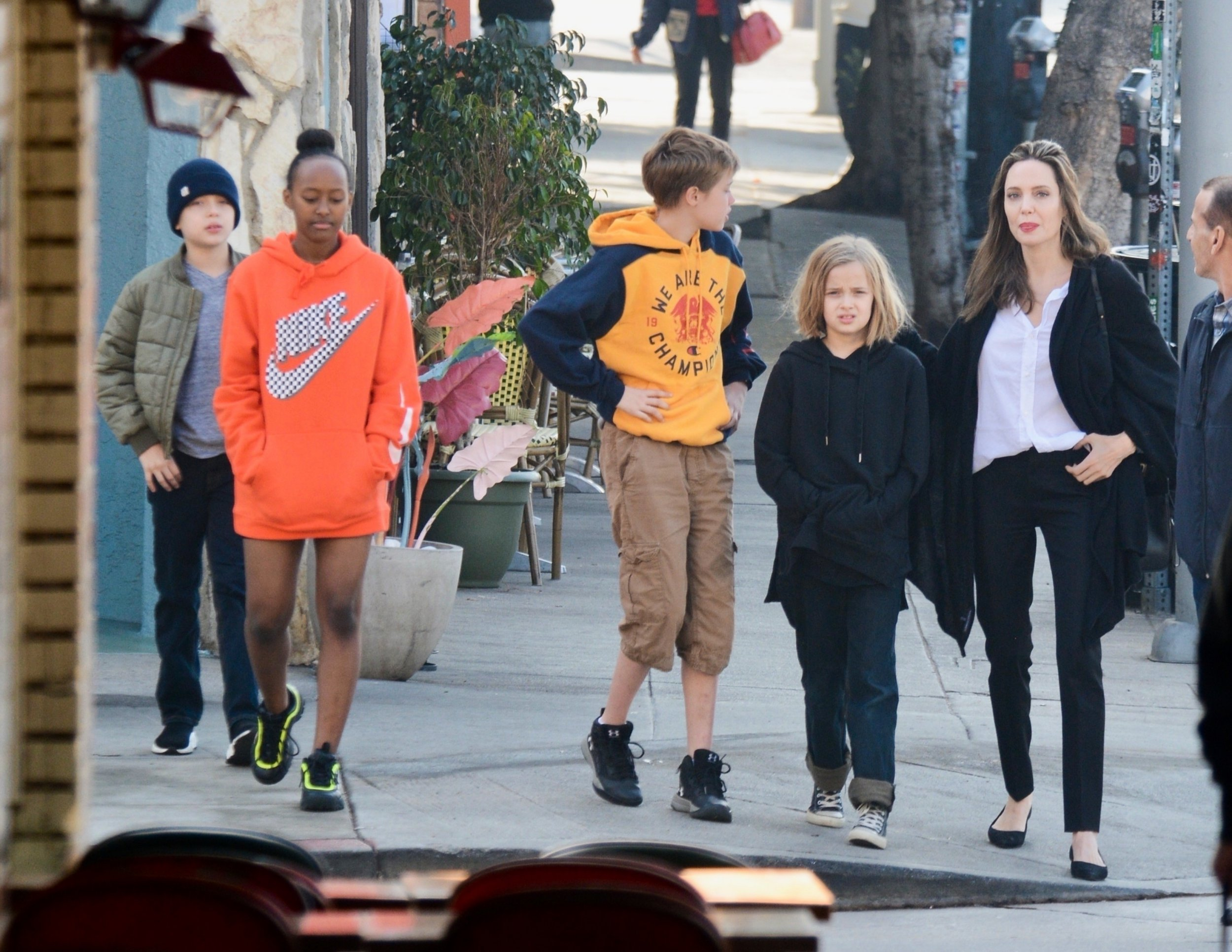 Angelina Jolie and four of her children spotted out and about in Los Angeles after Christmas