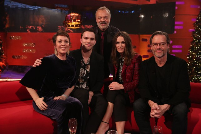 Host Graham Norton with (seated left to right) Olivia Colman, Nicholas Hoult, Keira Knightley and Guy Pearce during the filming for the Graham Norton Show at BBC Studioworks 6 Television Centre, Wood Lane, London, to be aired on BBC One on Friday evening. PRESS ASSOCIATION. Issue date: Friday December 28, 2018. Photo credit should read: PA Images on behalf of So TV