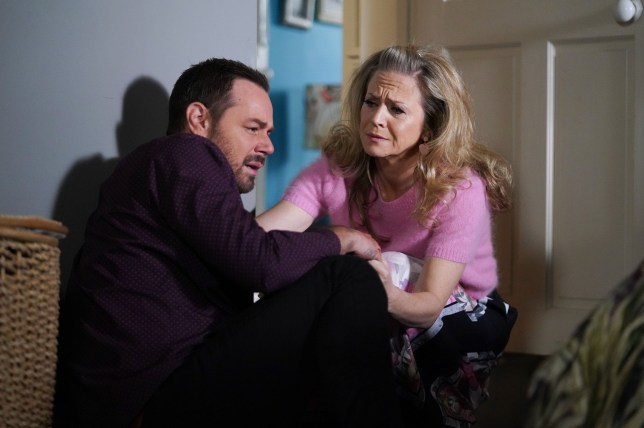 WARNING: Embargoed for publication until 00:00:01 on 08/01/2019 - Programme Name: EastEnders - January - March 2019 - TX: 15/01/2019 - Episode: EastEnders - January - March - 2019 - 5851 (No. 5851) - Picture Shows: *STRICTLY NOT FOR PUBLICATION UNTIL 00:01HRS TUESDAY 8th JANUARY 2019* Linda finds Mick in a state. Mick Carter (DANNY DYER), Linda Carter (KELLIE BRIGHT) - (C) BBC - Photographer: Kieron McCarron