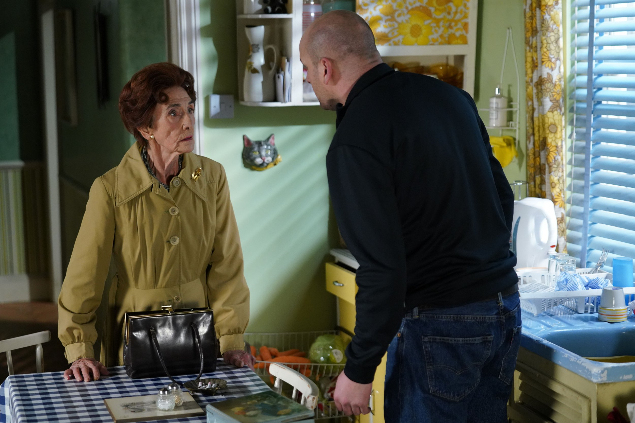 WARNING: Embargoed for publication until 00:00:01 on 08/01/2019 - Programme Name: EastEnders - January - March 2019 - TX: 17/01/2019 - Episode: EastEnders - January - March - 2019 - 5852 (No. 5852) - Picture Shows: *STRICTLY NOT FOR PUBLICATION UNTIL 00:01HRS TUESDAY 8th JANUARY 2019* Dot confronts Stuart about stealing Doctor Legg???s photo Dot Branning (JUNE BROWN), Stuart Highway (RICKY CHAMP) - (C) BBC - Photographer: Kieron McCarron