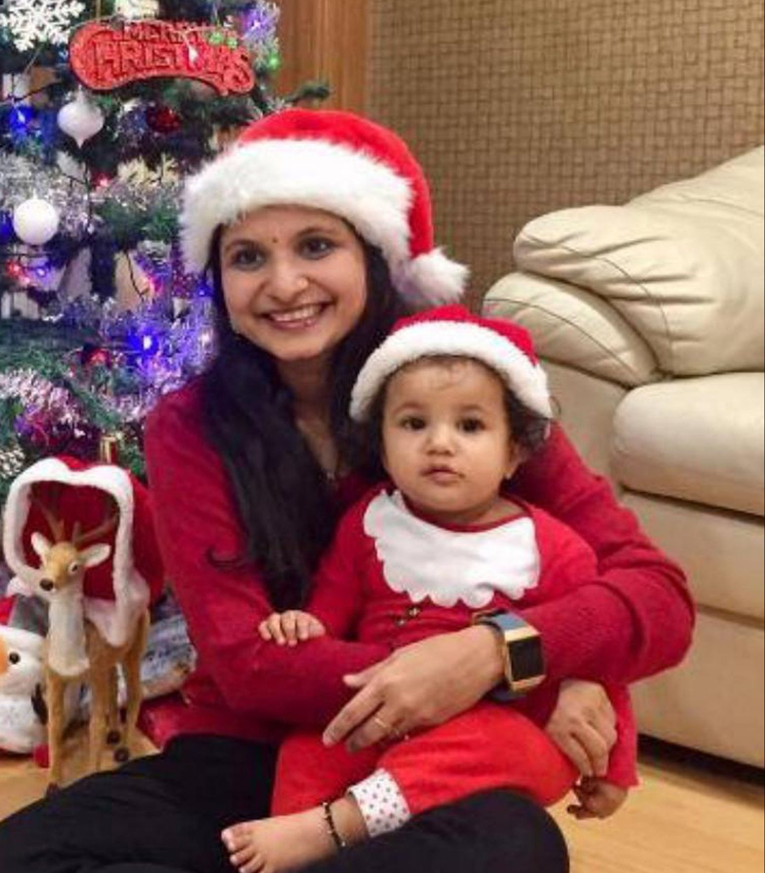 ** PRINT BEFORE WEB ** Pictures shows:Collect pictures of the Iceland car crash tragedy family. (Left to Right) Mum Rajshree Laturia - died Daughter Shreeprabha Laturia (aged 11 months) - died Kerry Davies/Daily Mail 28/12/2018