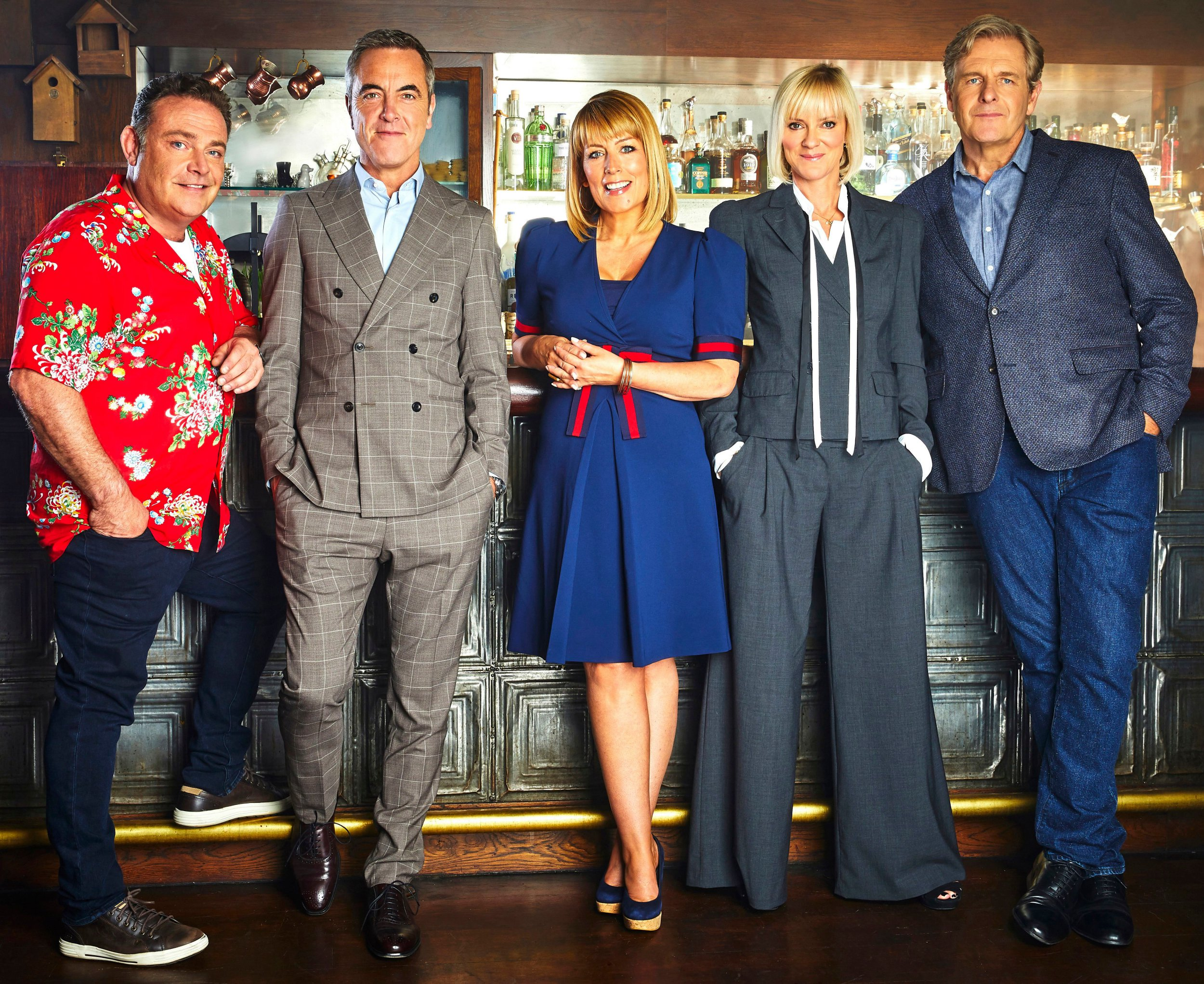Editorial use only Mandatory Credit: Photo by ITV/REX/Shutterstock (10037955a) Pete, as played by John Thomson, Adam, as played by James Nesbitt, Jenny, as played by Fay Ripley, Karen, as played by Hermione Norris and David Marsden, as played by Robert Bathurst. 'Cold Feet' TV Show, Series 8 UK - Jan 2019