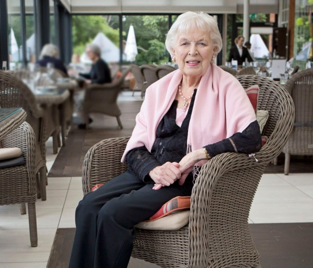 Mandatory Credit: Photo by Jenny Goodall/ANL/REX/Shutterstock (9866595a) Actress Dame June Whitfield. Actress Dame June Whitfield.