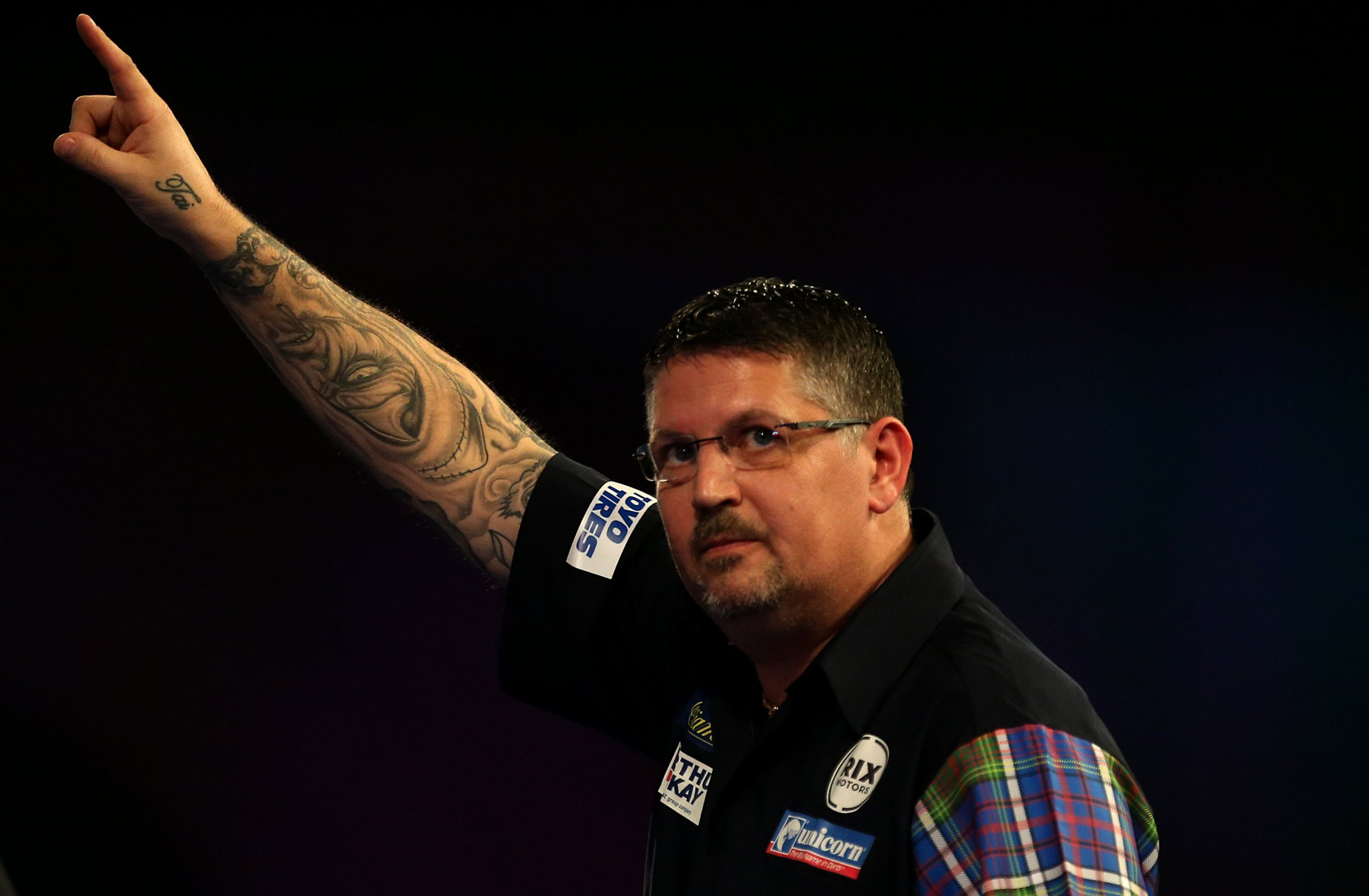 Gary Anderson celebrates winning his match during day fourteen of the William Hill World Darts Championships at Alexandra Palace, London. PRESS ASSOCIATION Photo. Picture date: Saturday December 29, 2018. See PA story DARTS World. Photo credit should read: Steven Paston/PA Wire