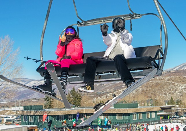 Kim Kardashian and sister Kendall Jenner Hit the Slopes of Buttermilk in Aspen, CO. Kim was wearing a $3k bright pink Prada ski suit while her sister opted for a sleek black and white ensemble. The girls played with the photographers as they hit the ski lift 'giving the bird' - or maybe they were signaling how many more times they were going up the mountain... Pictured: KIM KARDASHIAN AND KENDALL JENNER Ref: SPL5052048 291218 NON-EXCLUSIVE Picture by: Craig Turpin / SplashNews.com Splash News and Pictures Los Angeles: 310-821-2666 New York: 212-619-2666 London: 0207 644 7656 Milan: 02 4399 8577 photodesk@splashnews.com World Rights,