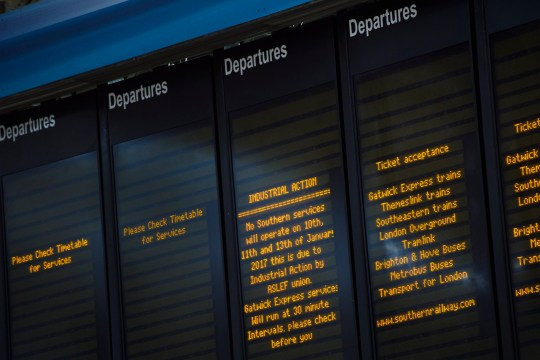 The Departures board at Victoria station, London, shows empty slots as Southern Railways trains are cancelled due to industrial action. Picture date: Tuesday January 10th, 2017. Photo credit should read: Matt Crossick/EMPICS Entertainment.