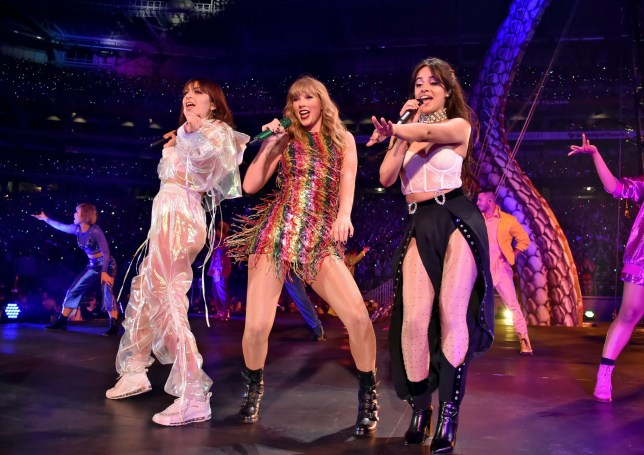 GLENDALE, AZ - MAY 08: Charli XCX, Taylor Swift and Camila Cabello perform onstage during opening night of Taylor Swift's 2018 Reputation Stadium Tour at University of Phoenix Stadium on May 8, 2018 in Glendale, Arizona. (Photo by Kevin Mazur/Getty Images for TAS)