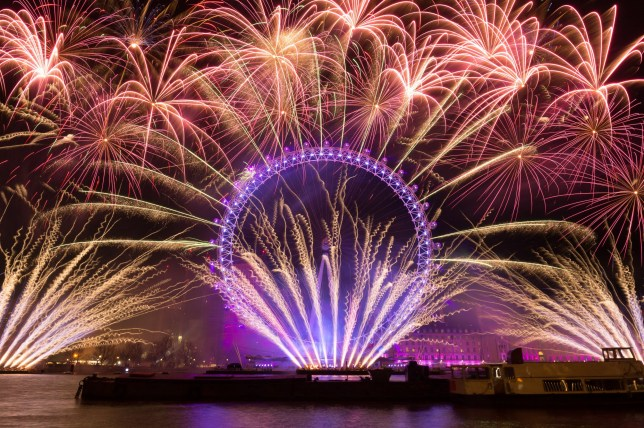 Fireworks over the London Eye for New Year