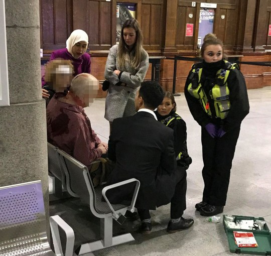 Manchester Victoria station stab attack 31/12/2018Image shows people being treated.Ian Leonard Freelance Journalist