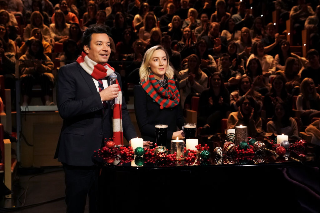 Saoirse Ronan joins Jimmy Fallon to belt out Christmas classic Fairytale Of New York in pub 'lock in'