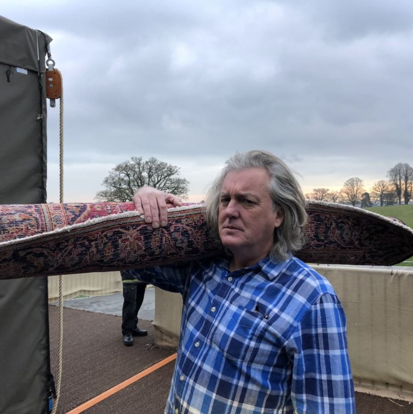James May steals a carpet from The Grand Tour tent before it gets dumped in season 4