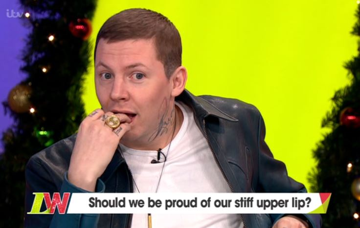 Professor Green's face sums up the mood on Loose Women as Stanley Johnson cracks joke about murder