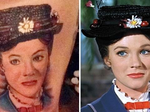 Mega Disney fan gets Mary Poppins' face tattooed on his leg