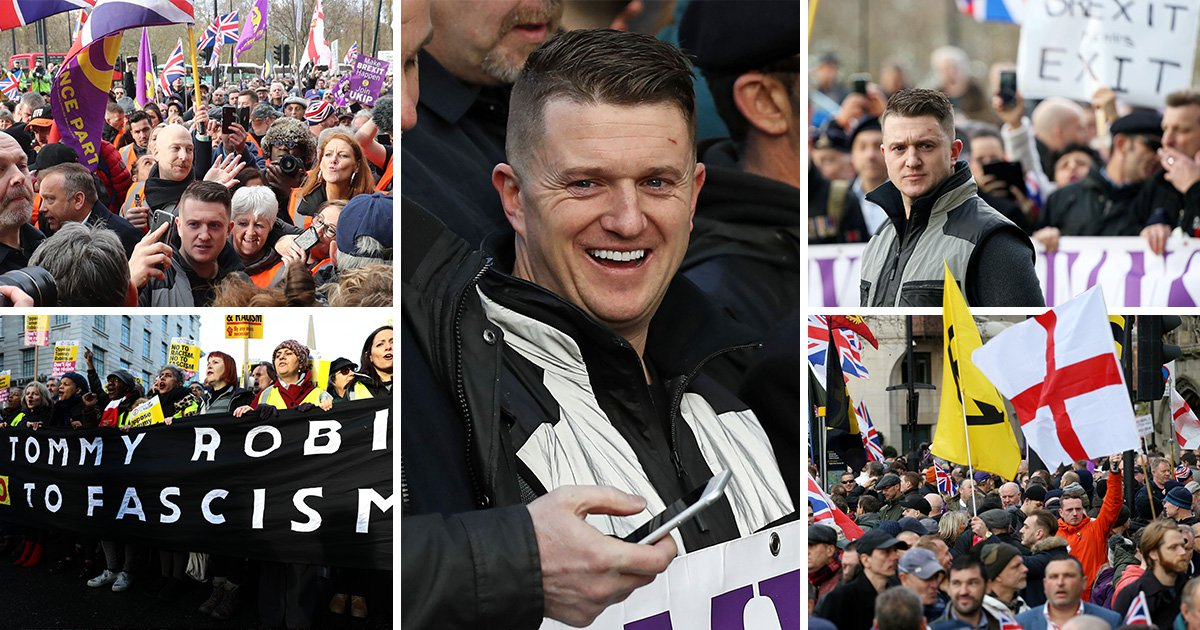 Tommy Robinson leads thousands of 'Brexit betrayal' protesters on Ukip march