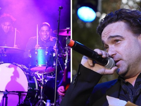 The Big Bang Theory star Johnny Galecki battles through hand injury to play the drums and nails it