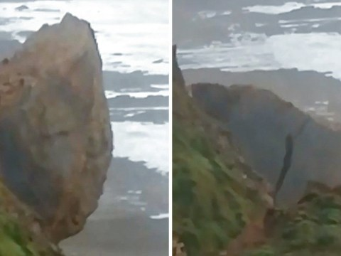 Enormous chunk of cliff collapses onto a beach below