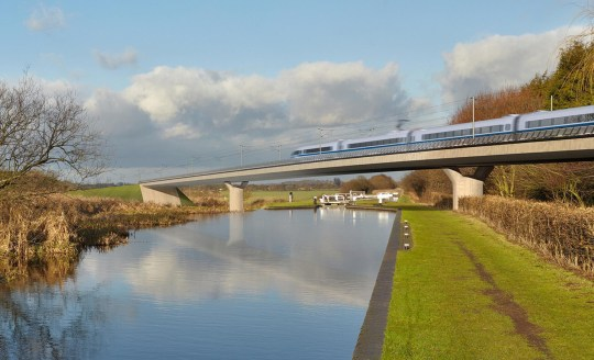 Undated handout file image issued by HS2 of the Birmingham and Fazeley viaduct, part of the proposed route for the HS2 high speed rail scheme. HS2 passengers could order Amazon packages to be delivered to their seat, a train manufacturer has claimed. PRESS ASSOCIATION Photo. Issue date: Tuesday November 27, 2018. Bombardier Transportation, which is bidding to win a ?2.75 billion contract to build the high-speed trains in a joint venture with Hitachi Rail, is developing technology which would enable click-and-collect services on board. See PA story RAIL HS2. Photo credit should read: HS2/PA Wire NOTE TO EDITORS: This handout photo may only be used in for editorial reporting purposes for the contemporaneous illustration of events, things or the people in the image or facts mentioned in the caption. Reuse of the picture may require further permission from the copyright holder.
