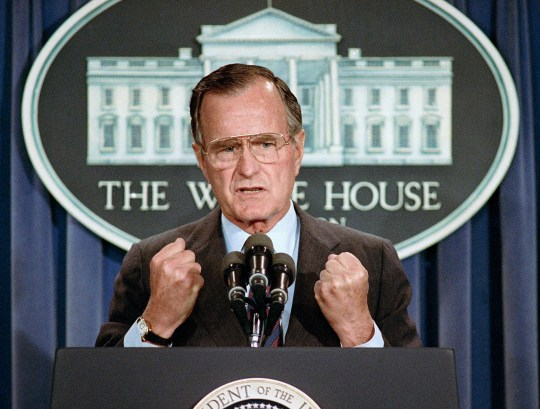FILE - In this June 5, 1989 file photo, U.S. President George H.W. Bush holds a news conference at the White House in Washington where he condemned the Chinese crackdown on pro-democracy demonstrators in Beijing's Tiananmen Square. Bush died at the age of 94 on Friday, Nov. 30, 2018, about eight months after the death of his wife, Barbara Bush. (AP Photo/Marcy Nighswander, File)
