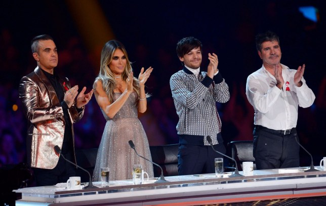 Ayda Field, Robbie Williams, Louis Tomlinson and Simon Cowell at last year's X Factor