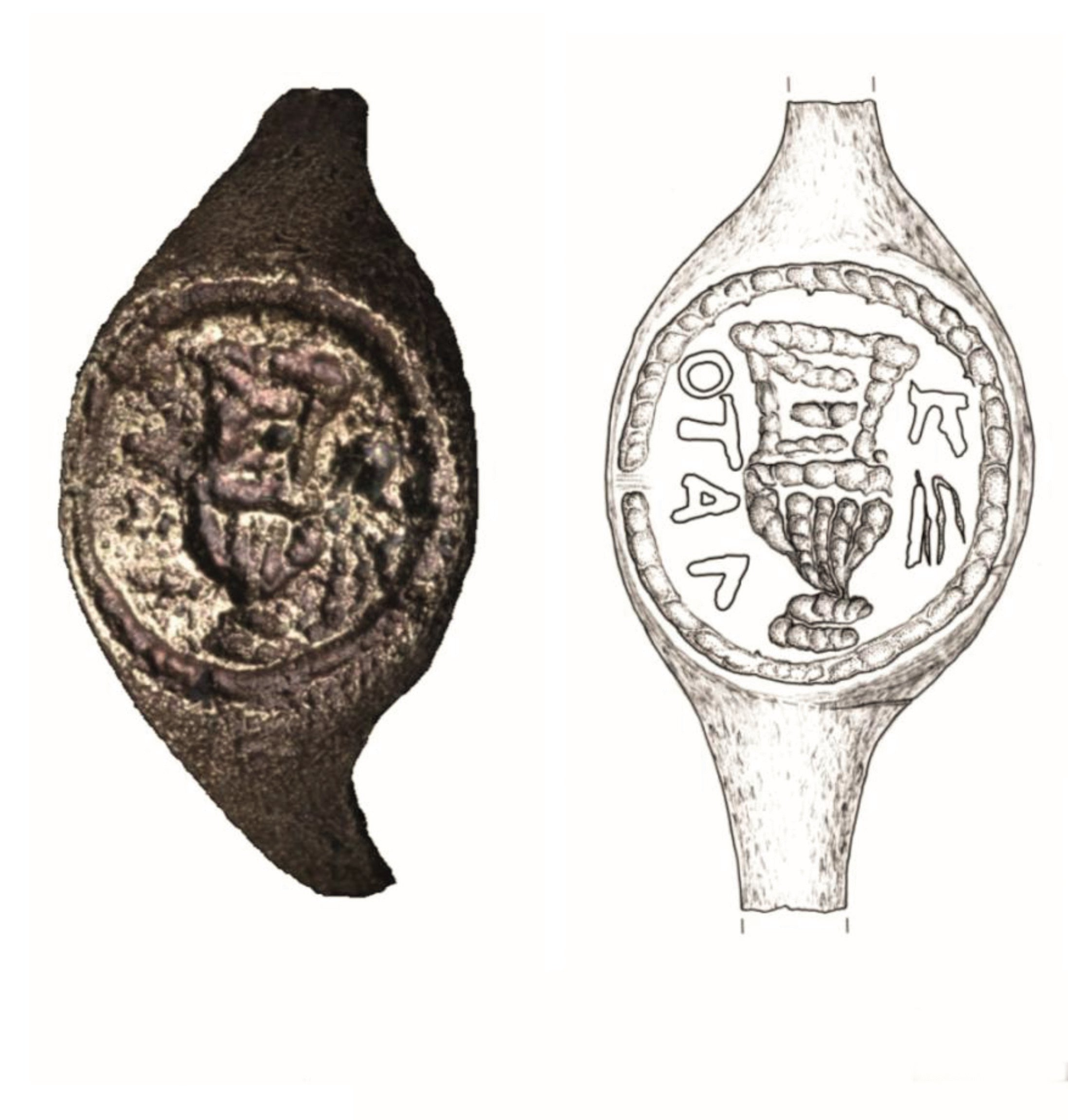 epa07203129 A handout photo and sketch made available by the Hebrew University of Jerusalem on an unknown date in 1969 shows the image (L) of a copper ring and a sketch (R) of what the ring may have looked like, that was found in 1969 at a fortress built by King Herod near the West Bank city of Bethlehemthe (issued 02 December 2018). The ring, which is made from copper-alloy and was found at the fortress, bears the inscription 'of Pilatus' which experts believe refers to the Pontius Pilate. EPA/HEBREW UNIVERSITY OF JERUSALEM / HANDOUT HANDOUT EDITORIAL USE ONLY/NO SALES