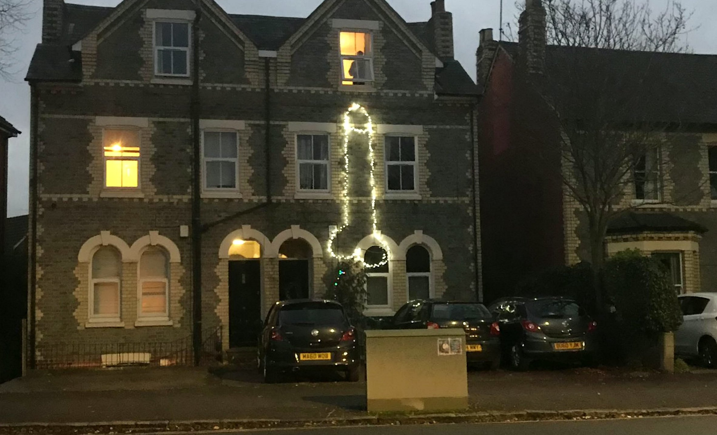 The Christmas lights ?Penis? that has shocked residents on a street on Reading,Berks..See SWNS story SWCAlights. Horrified residents have spoken out after neighbours decorated the outside of their home with festive lights- in the shape of a giant PENIS. The large light display appeared at the front of a home on a quiet residential street in Reading, Berks., yesterday (Sun).It is believed to have been erected by a group of students living in the house.Stephen Bailey-Todd, 53 who lives nearby was in 'complete disbelief' when he spotted the bright shining penis while out on a walk.