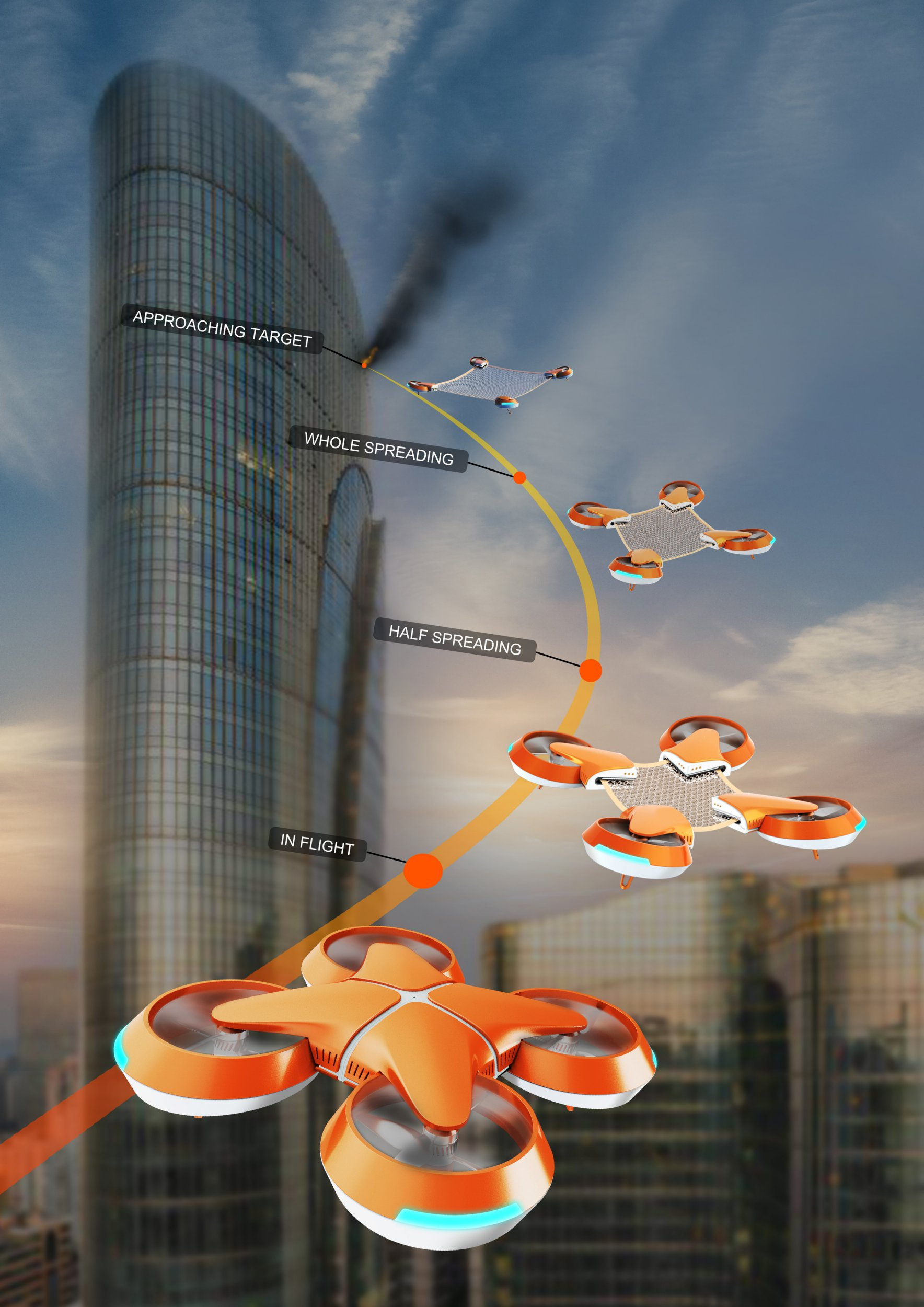 PIC FROM NET GUARD / CATERS - (Pictured: Net Guard high rise fire rescue drones.) - -This fresh design concept has received many plaudits recently, as it suggests using drones to rescue individuals trapped in highrise fires. Named NET GUARD, the designs propose using a self-driven UAV drone to reach those in need of rescuing. According to the plans, a distress signal would be received before the drone, using GPS to pinpoint the location of the fire, would then head to the necessary building, avoiding traffic below. Once close enough to the building, the drone would then unfold into four propeller-powered parts, a safety net pulled tight in the center. - SEE CATERS COPY