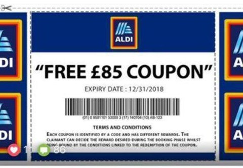 Aldi scam offers fake £85 vouchers and steals personal details