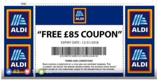 4fd865cadab Aldi scam offers fake £85 vouchers and steals personal details ...