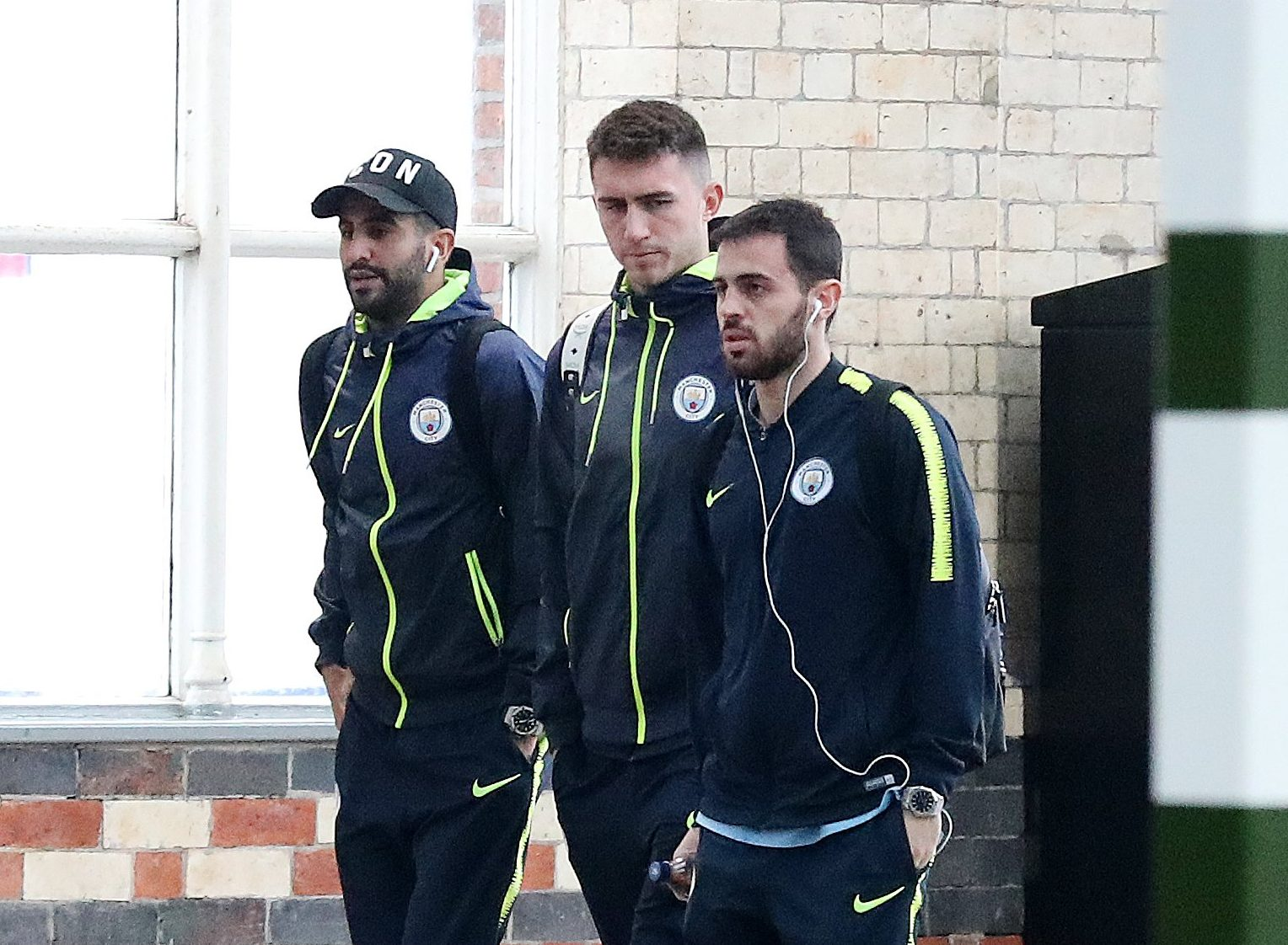 4.12.18???.. The Manchester City team get the train to Watford on Tuesday morning for their Premier League match at 8.00pm??????.. Riyad Mahrtez, Aymeric Laporte and Bernardo Silva.