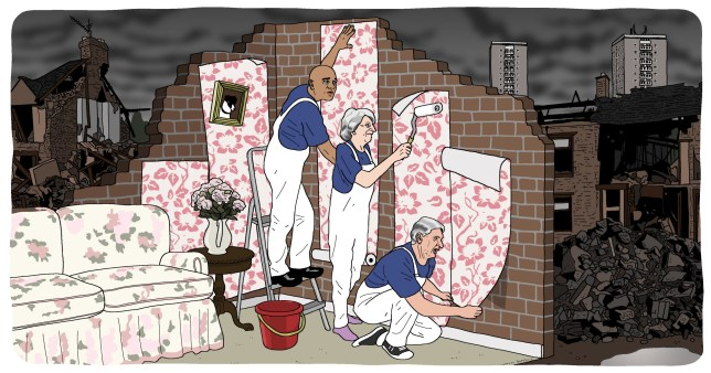 Theresa May, Philip Hammond and Sajid Javid putting wallpaper on a very cracked wallmetro illustrations(Picture: Dave Anderson/ Metro.co.uk)