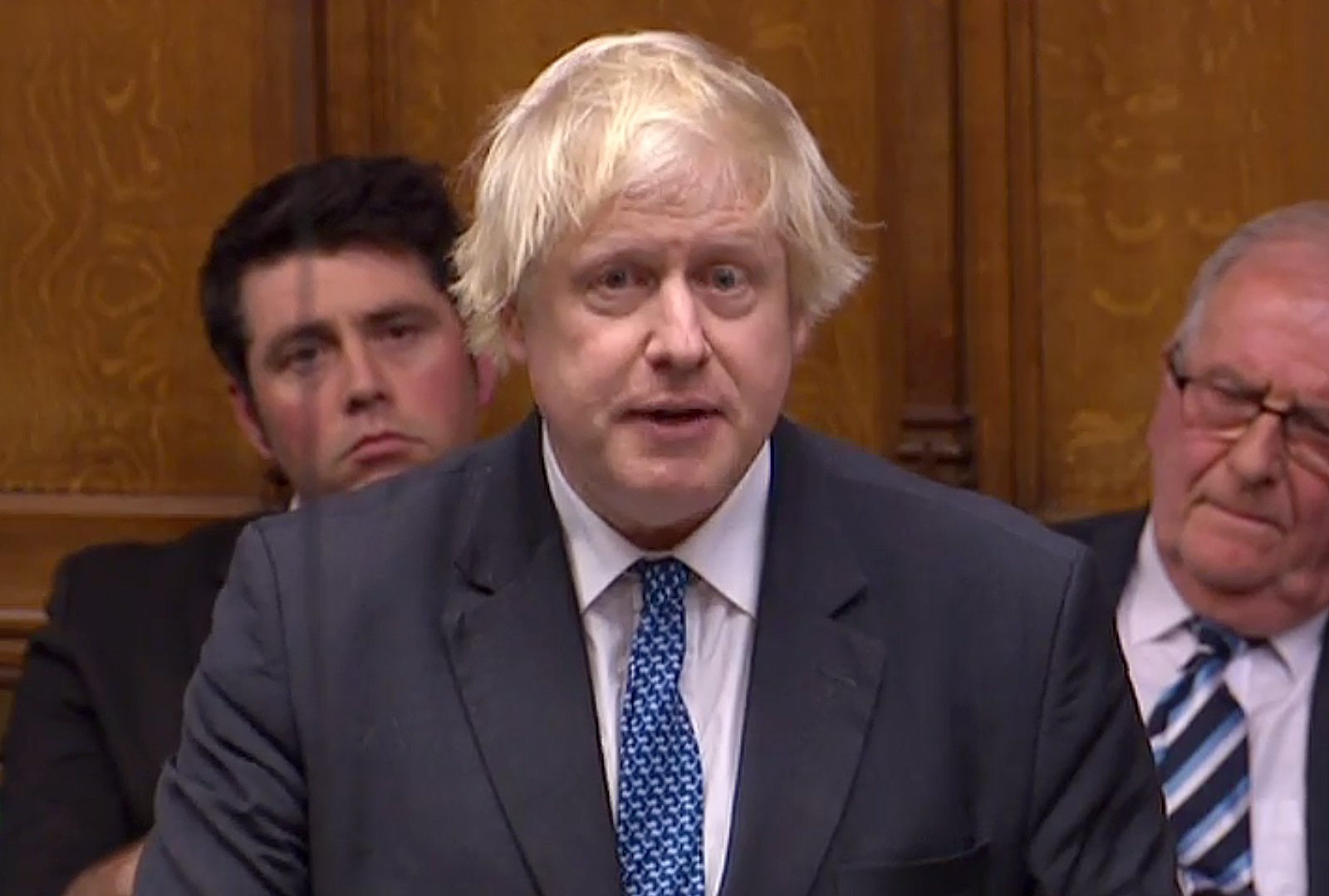 "A video grab from footage broadcast by the UK Parliament's Parliamentary Recording Unit (PRU) shows Britain's former Foreign Sectretary Boris Johnson as he speaks in the House of Commons in London on December 4, 2018, during a debate on the Brexit withdrawal agreement, ahead of the 'Meaningful Vote'. - Britain's government suffered a stinging rebuke from MPs ahead of Tuesday's momentous Brexit debate, exposing Prime Minister Theresa May's lack of support in parliament. The House of Commons voted 311-293 to censure the government for failing to publish its full legal advice about the divorce deal May struck last month with the European Union. (Photo by HO / PRU / AFP) / RESTRICTED TO EDITORIAL USE - NO USE FOR ENTERTAINMENT, SATIRICAL, ADVERTISING PURPOSES - MANDATORY CREDIT "" AFP PHOTO / PRU ""HO/AFP/Getty Images"