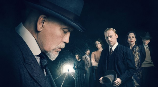 WARNING: Embargoed for publication until 09:30:01 on 22/11/2018 - Programme Name: The ABC Murders - TX: n/a - Episode: n/a (No. n/a) - Picture Shows: ** IMAGE EMBARGOED UNTIL 0930HRS THURSDAY 22 NOVEMBER 2018** L-R Hercule Poirot (JOHN MALKOVICH), Mrs Rose Marbury (SHIRLEY HENDERSON), Franklin Clarke (ANDREW BUCHAN), Thora (FREYA MAVOR), Inspector Crome (RUPERT GRINT), Lady Hermione Clarke (TARA FITZGERALD), Cust (EAMON FARREN) - (C) Mammoth Screen/Agatha Christie Ltd - Photographer: Charlie Gray and Ben Blackall