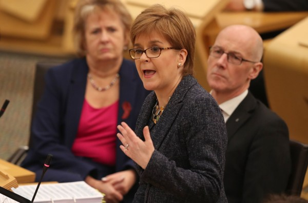 First Minister Nicola Sturgeon during First Minister's Questions at the Scottish Parliament in Edinburgh. PRESS ASSOCIATION Photo. Picture date: Thursday December 6, 2018. See PA story SCOTLAND Questions. Photo credit should read: Jane Barlow/PA Wire