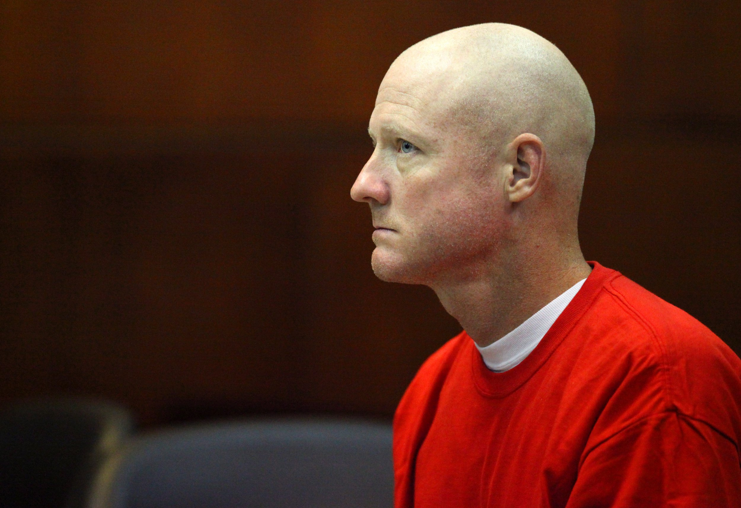 Justin Mertis Barber appears before circuit Judge Patti Christensen at the St. Johns County Courthouse on Friday, May 4, 2012. Barber, who is seeking a new trial, was found guilty in 2006 of murdering his wife on the beach at Guana River State Park. (AP Photo/The St. Augustine Record, Daron Dean) TV OUT; MAGS OUT